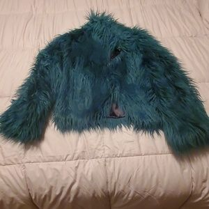 Fabulous Furs turquoise faux fur short coat